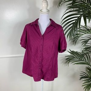 Lane Bryant Purple Button Down Top Womens 14/16